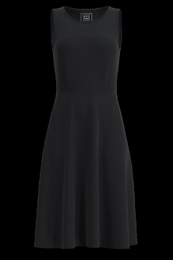 Schwarz Ausgestelltes Kleid mit Rundhalsausschnitt OPI[MO]
