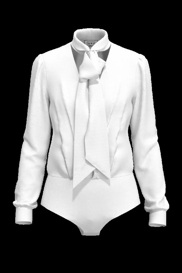 Body arricciato con fiocco, bianco OPI[MO] vuoto