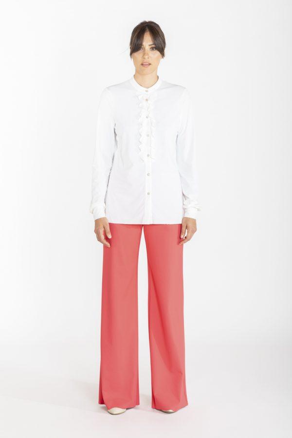 Camicia con rouches davanti bianca OPI[MO]