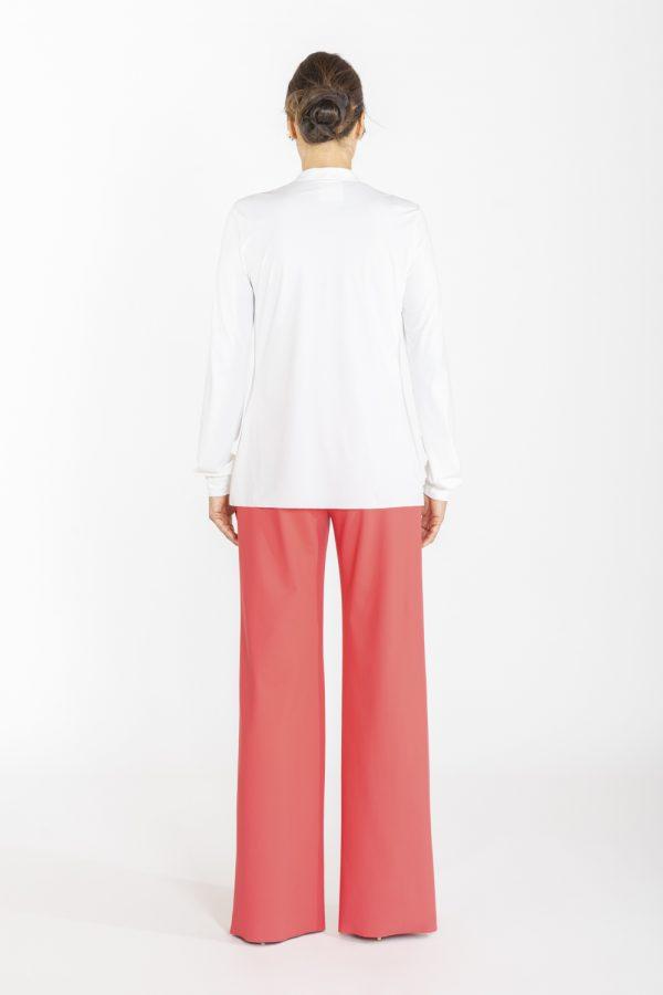 Camicia con rouches davanti bianca OPI[MO] dietro
