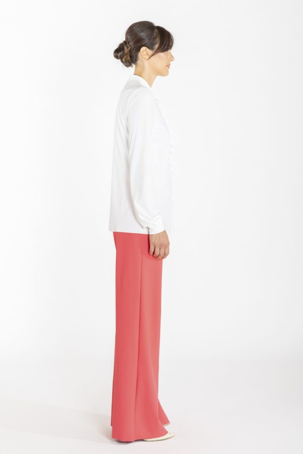 Camicia con rouches davanti bianca OPI[MO] laterale