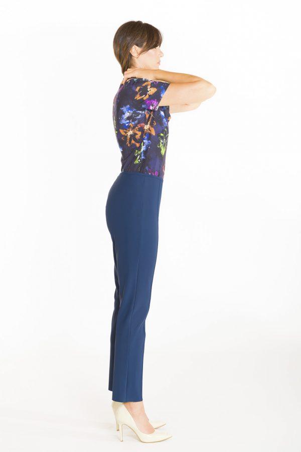 Pantalone a sigaretta con nervatura OPI[MO] blu laterale