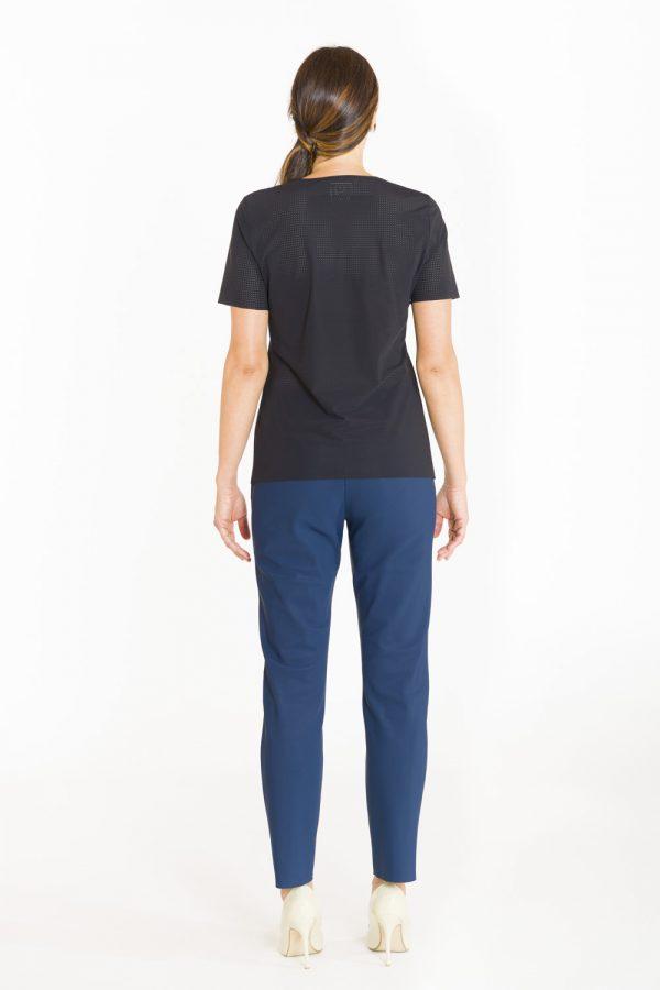 T-shirt classica in tessuto forato nero OPI[MO] dietro