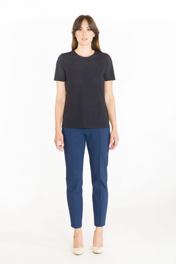 T-shirt classica in tessuto forato nero OPI[MO] frontale