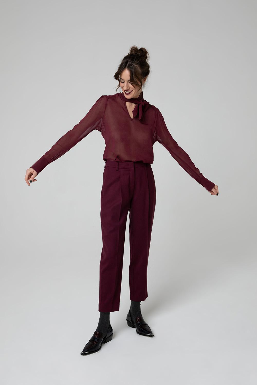 Camicia trasparente e pantaloni di lana bordeaux OPI[MO] fw20-21